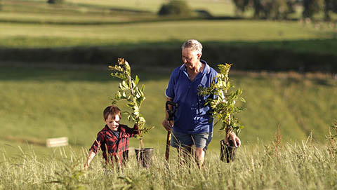 Grandfather and grandson walking through farm with plants
