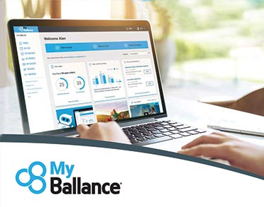 Laptop with MyBallance dashboard